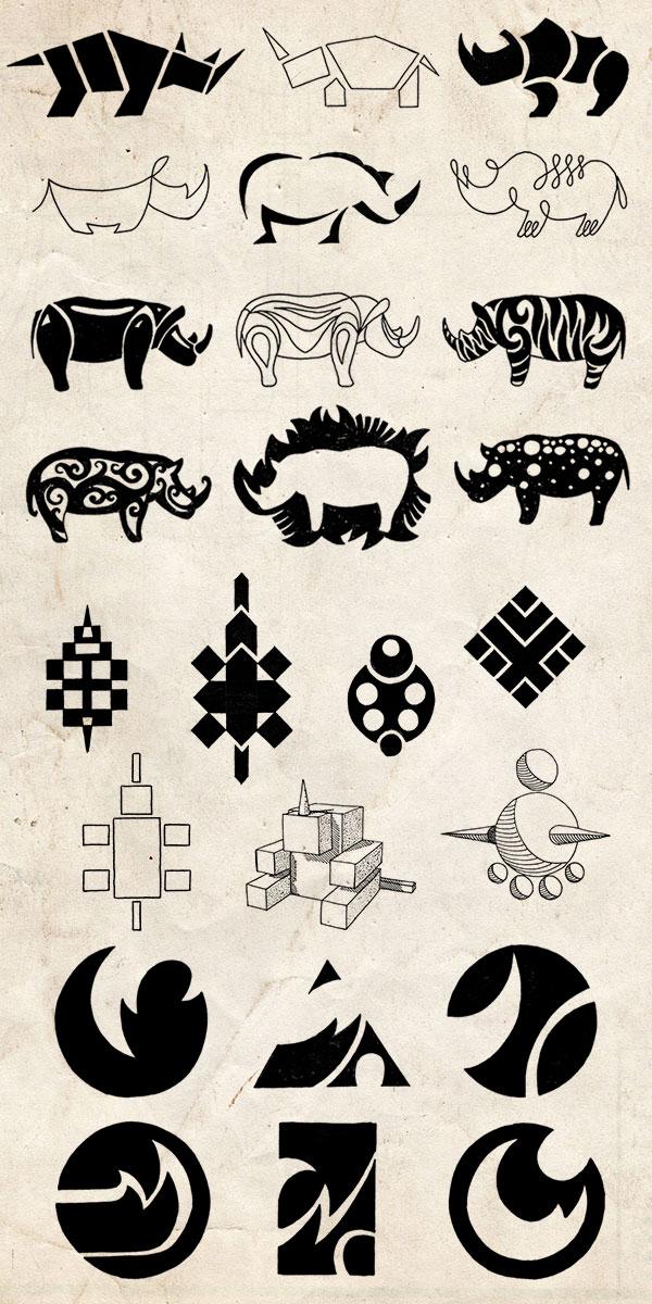logo greation, stylized rhineceros