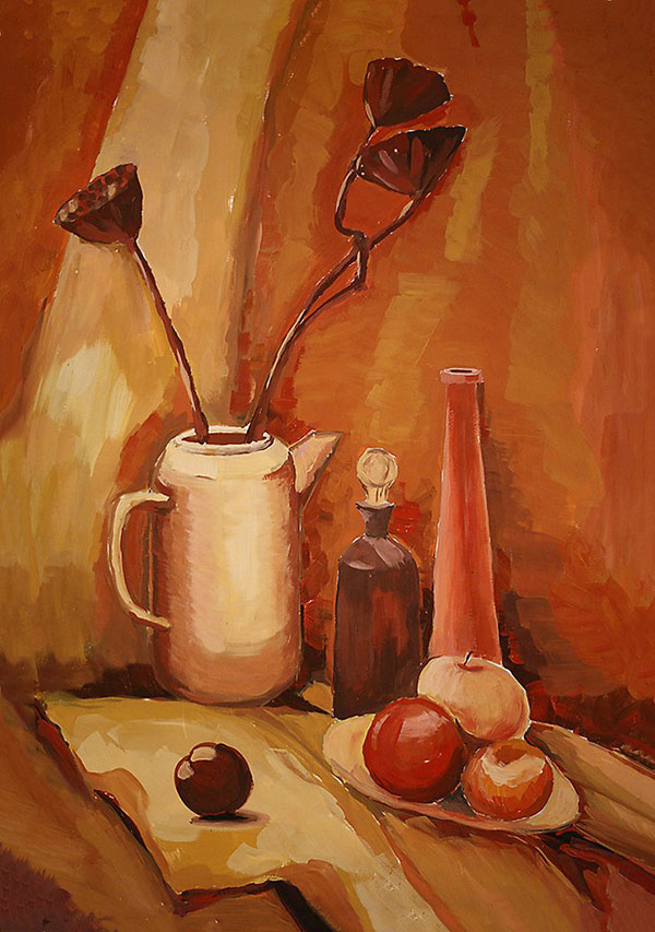 still life, gouache, hot gamma