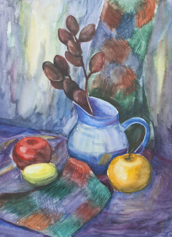 still life, watercolor