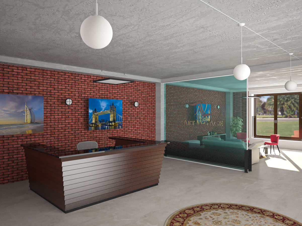 Interior design, study project, reception
