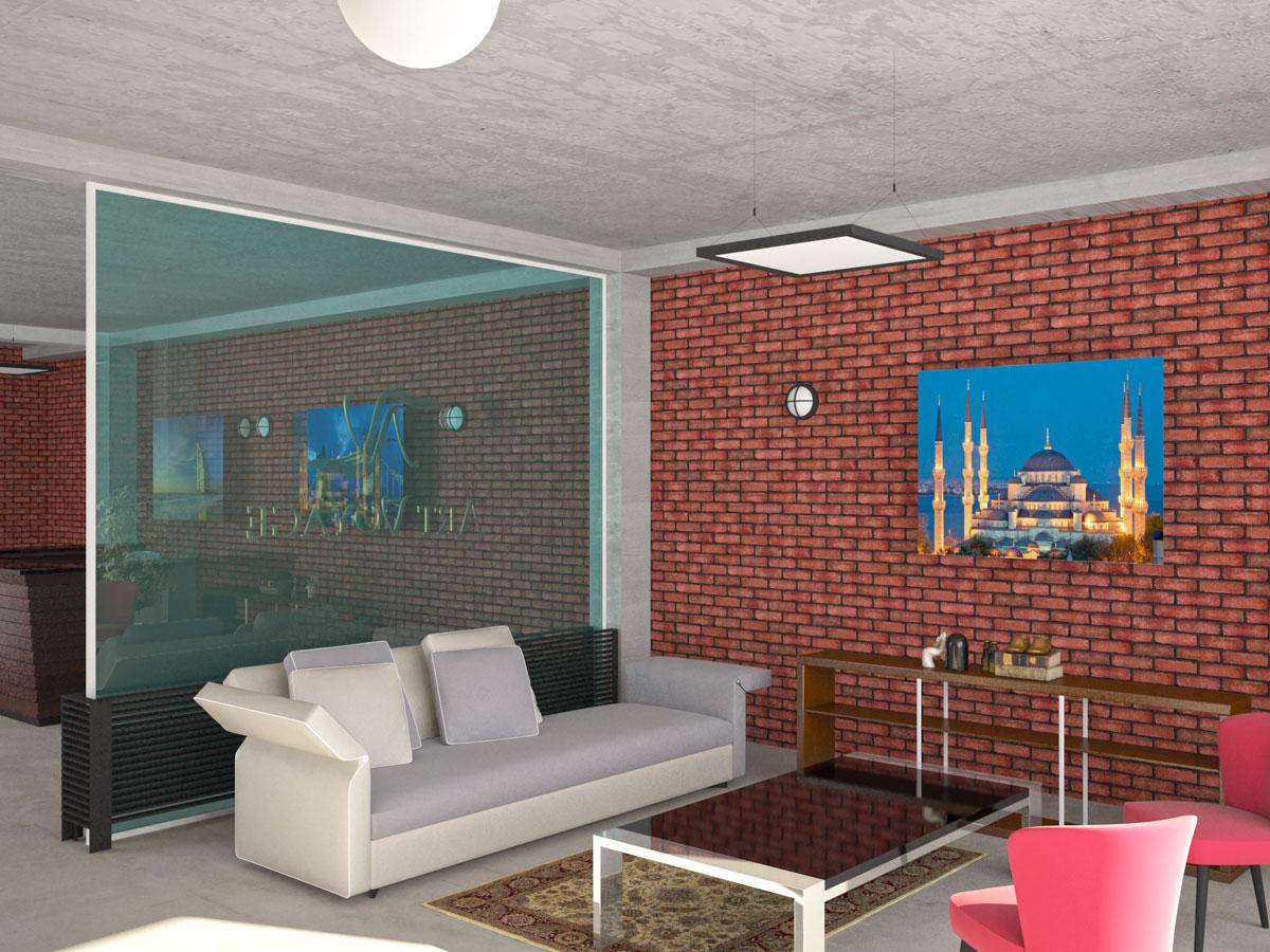 Interior design, study project, visitors' area